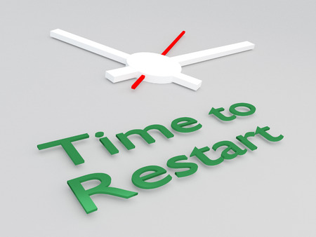 3D illustration of Time to Restart title with a clock as a background