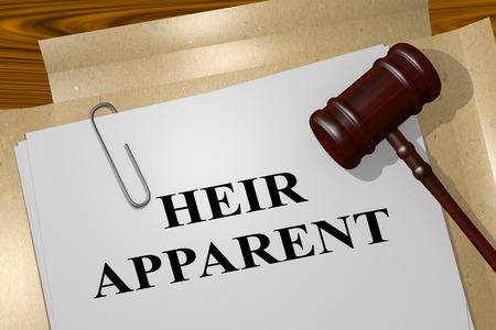 3D illustration of HEIR APPARENT title on legal document
