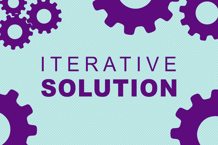 ITERATIVE SOLUTION sign concept illustration with purple gear wheel figures on pale blue background Stock Photo