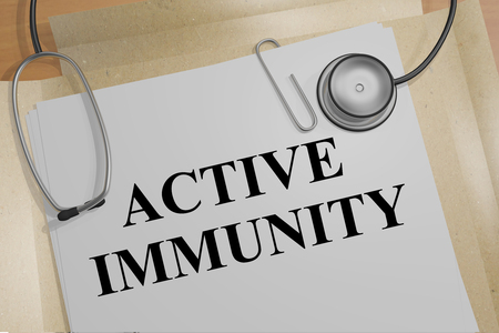 3D illustration of ACTIVE IMMUNITY title on a medical document Stock Photo