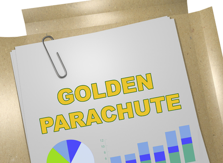 3D illustration of GOLDEN PARACHUTE title on business document