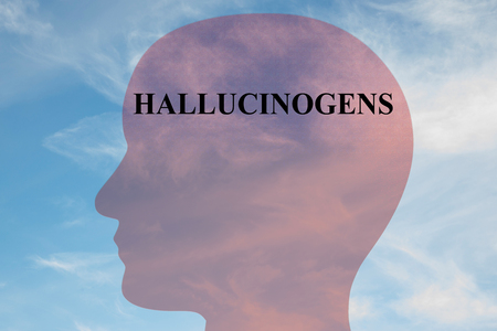 Render illustration of HALLUCINOGENS title on head silhouette, with cloudy sky as a background.