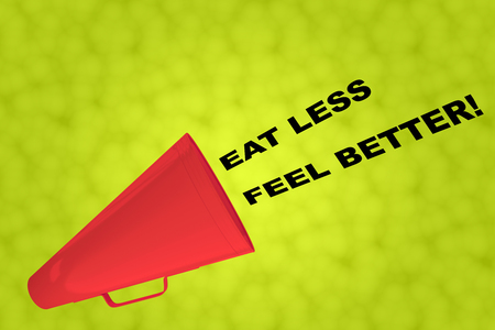 3D illustration of EAT LESS FEEL BETTER! title flowing from a loudspeaker