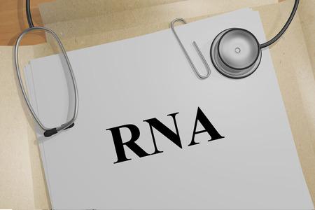 3D illustration of RNA title on a medical document
