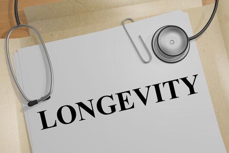 3D illustration of LONGEVITY title on a medical document Banque d'images