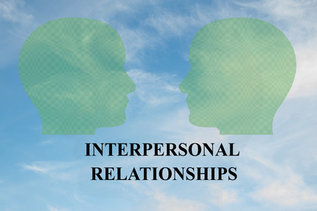 Render illustration of INTERPERSONAL RELATIONSHIPS title under two head silhouettes, with cloudy sky as a background.