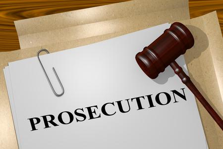 3D illustration of PROSECUTION title on legal document