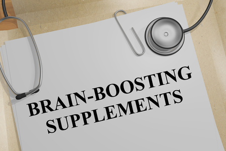 3D illustration of BRAIN-BOOSTING SUPPLEMENTS title on a medical document Stock Illustration - 97150512