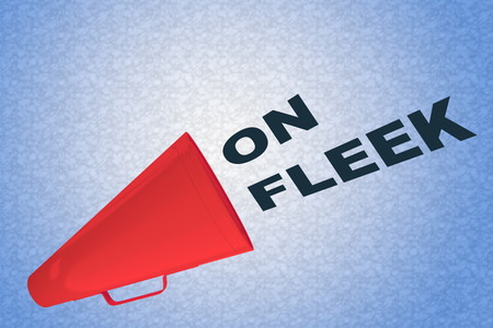 3D illustration of ON FLEEK title flowing from a loudspeaker