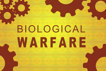 BIOLOGICAL WARFARE sign concept illustration with red gear wheel figures on yellow background Stock Illustration - 97150574