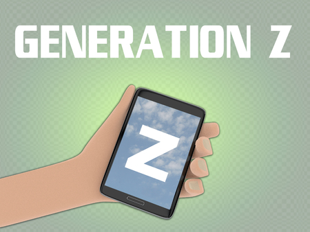 3D illustration of Z script on the screen of a cellulr phone held by hand, isolated on pale green gradient, with the script GENERATION Z on the background.