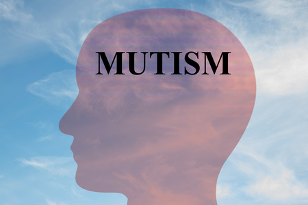 Render illustration of MUTISM title on head silhouette, with cloudy sky as a background. Stock Photo