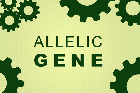 ALLELIC GENE sign concept illustration with green gear wheel figures on pale green background Stock Photo