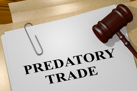 3D illustration of PREDATORY TRADE title on legal document Stock Photo