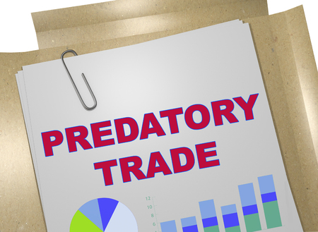 3D illustration of PREDATORY TRADE title on business document