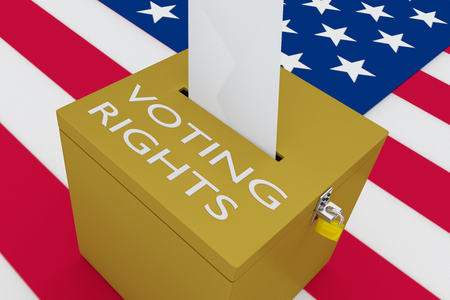 3D illustration of VOTING RIGHTS script on a ballot box, with US flag as a background. Stock Photo