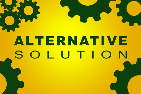 ALTERNATIVE SOLUTION sign concept illustration with green gear wheel figures on yellow background