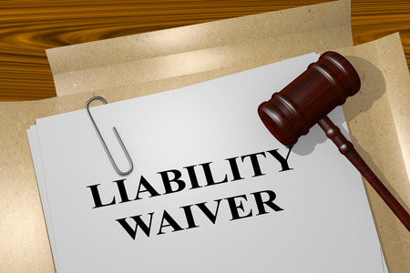 3D illustration of LIABILITY WAIVER title on legal document