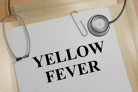 3D illustration of YELLOW FEVER title on a medical document