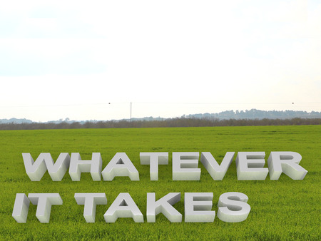 3D illustration of WHATEVER IT TAKES script over an open field