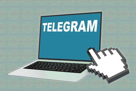 3D illustration of TELEGRAM script with pointing hand icon pointing at the laptop screen