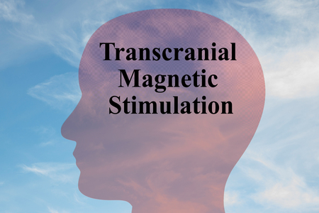 Render illustration of Transcranial Magnetic Stimulation title on head silhouette, with cloudy sky as a background.