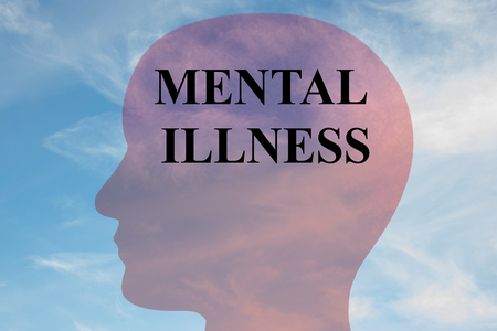 Render illustration of MENTAL ILLNESS title on head silhouette, with cloudy sky as a background. 写真素材