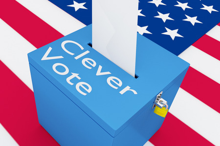 3D illustration of Clever Vote script on a ballot box, with US flag as a background.