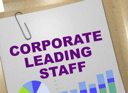 3D illustration of CORPORATE LEADING STAFF title on business document Stock Photo