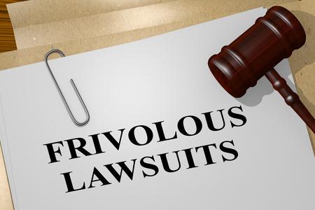 3D illustration of FRIVOLOUS LAWSUITS title on legal document
