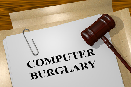 3D illustration of COMPUTER BURGLARY title on legal document