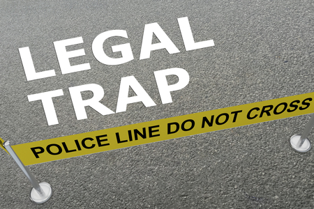 3D illustration of LEGAL TRAP title on the ground in a police arena
