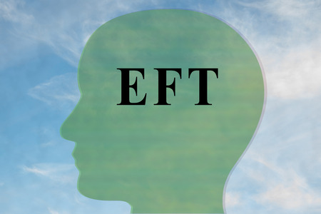 Render illustration of EFT title on head silhouette, with cloudy sky as a background. Stock Photo