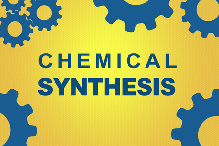 CHEMICAL SYNTHESIS sign concept illustration with blue gear wheel figures on dark yellow background Stock Photo