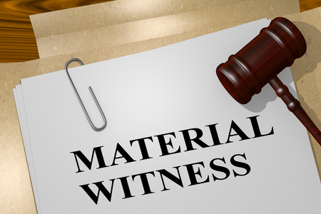 3D illustration of MATERIAL WITNESS title on legal document