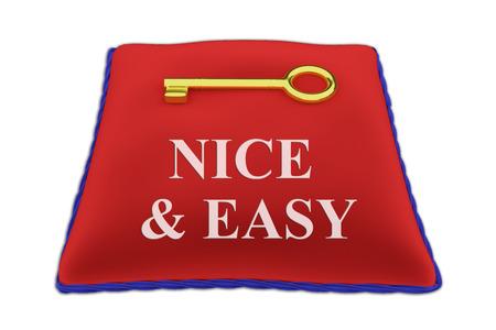 3D illustration of NICE & EASY Title on red velvet pillow near a golden key, isolated on white.
