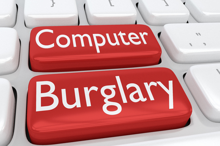 3D illustration of computer keyboard with the print Computer Burglary on two adjacent red buttons