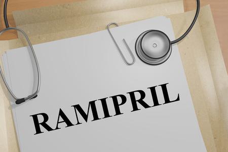 3D illustration of RAMIPRIL title on a medical document