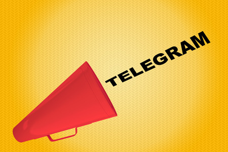 3D illustration of TELEGRAM title flowing from a loudspeaker Stock Photo