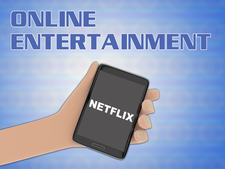 3D illustration of NETFLIX script on the screen of a cellulr phone held by hand, isolated on blue gradient, with the script ONLINE ENTERTAINMENT on the background.