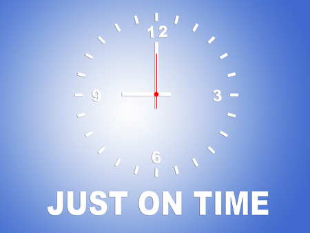3D illustration of JUST ON TIME title with a clock and blue gradient as a background
