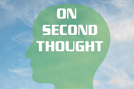 Render illustration of ON SECOND THOUGHT title on head silhouette, with cloudy sky as a background.