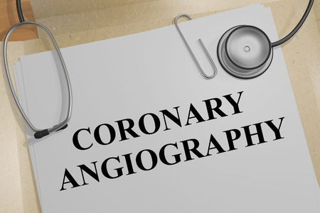 3D illustration of CORONARY ANGIOGRAPHY title on a medical document