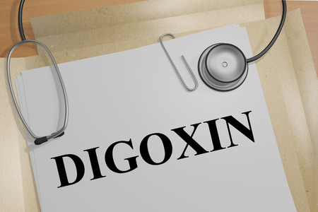 3D illustration of DIGOXIN title on a medical document