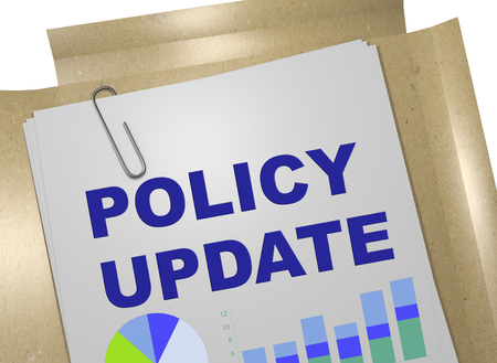 3D illustration of POLICY UPDATE title on business document