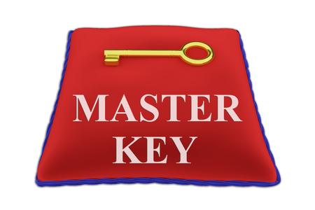 3D illustration of MASTER KEY Title on red velvet pillow near a golden key, isolated on white.