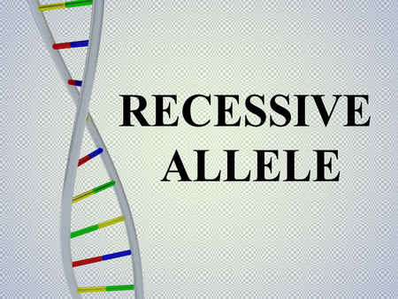 3D illustration of RECESSIVE ALLELE script with DNA double helix , isolated on pale blue background Stok Fotoğraf