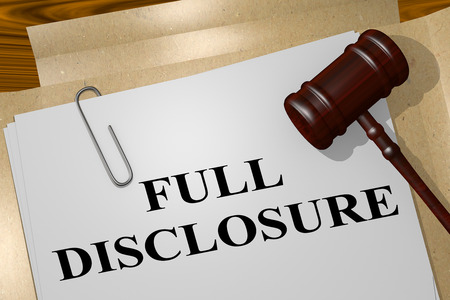 3D illustration of FULL DISCLOSURE title on legal document