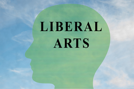 Render illustration of LIBERAL ARTS title on head silhouette, with cloudy sky as a background. Stok Fotoğraf