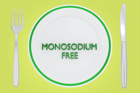 3D illustration of MONOSODIUM FREE title on a white plate, along with silver knif and fork, on a pale green background.